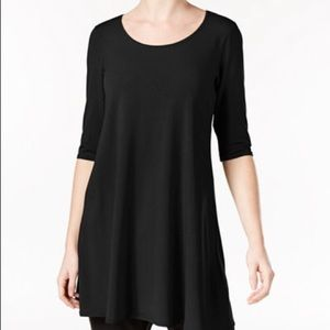 Eileen Fisher Black Scoop Neck Tunic Size Large